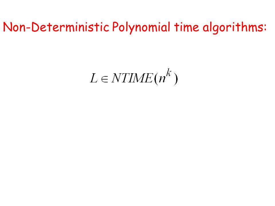Non-Deterministic Polynomial time algorithms:
