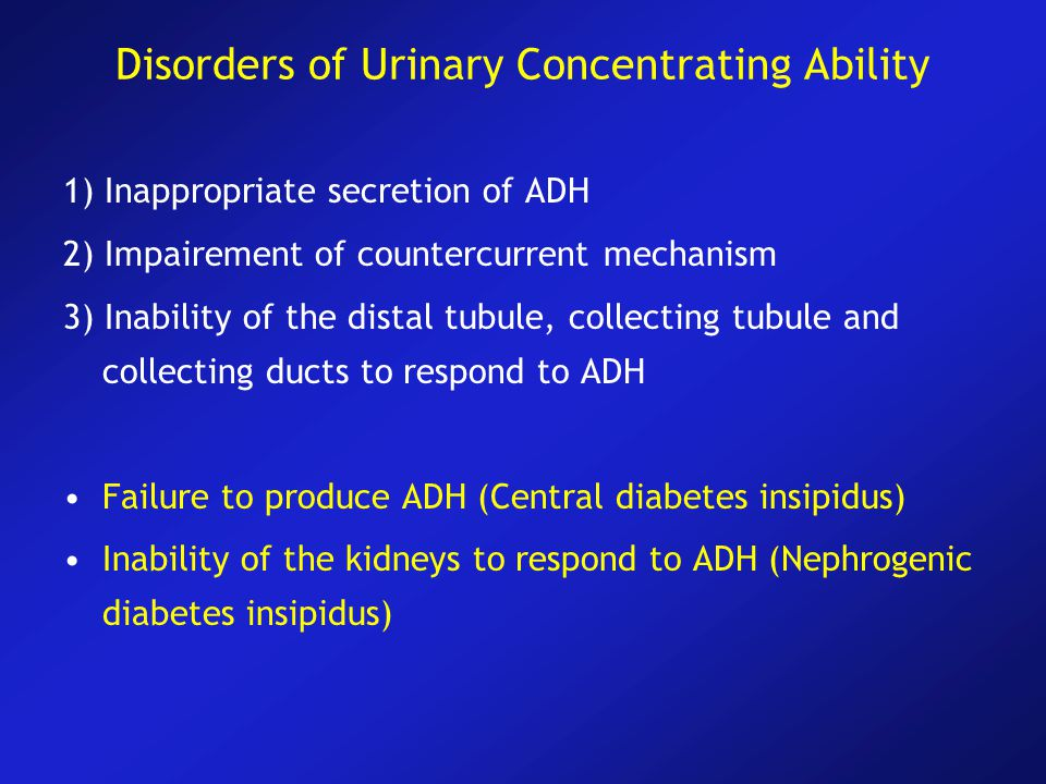 Disorders of Urinary Concentrating Ability