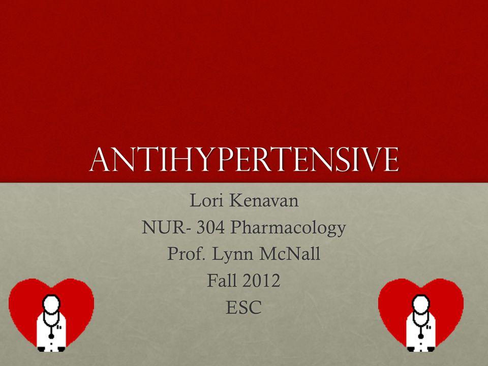 Lori Kenavan NUR- 304 Pharmacology Prof. Lynn McNall Fall 2012 ESC