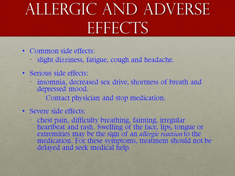 Allergic and adverse effects