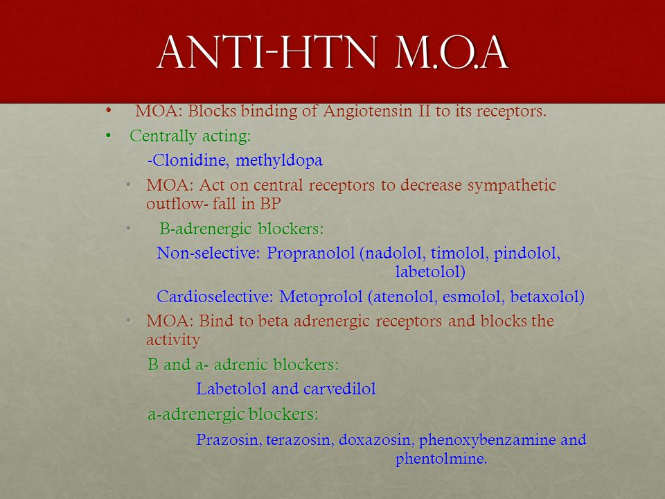 Anti-HTN M.O.A MOA: Blocks binding of Angiotensin II to its receptors.