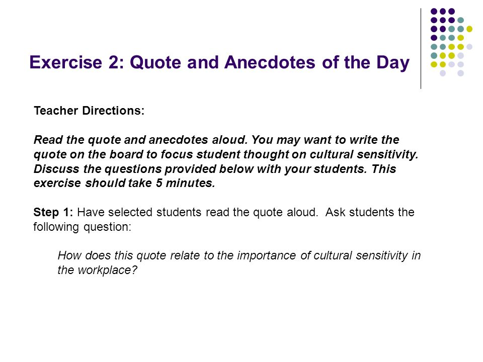 Exercise 2: Quote and Anecdotes of the Day
