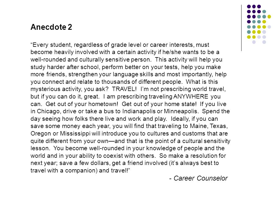 Anecdote 2 - Career Counselor