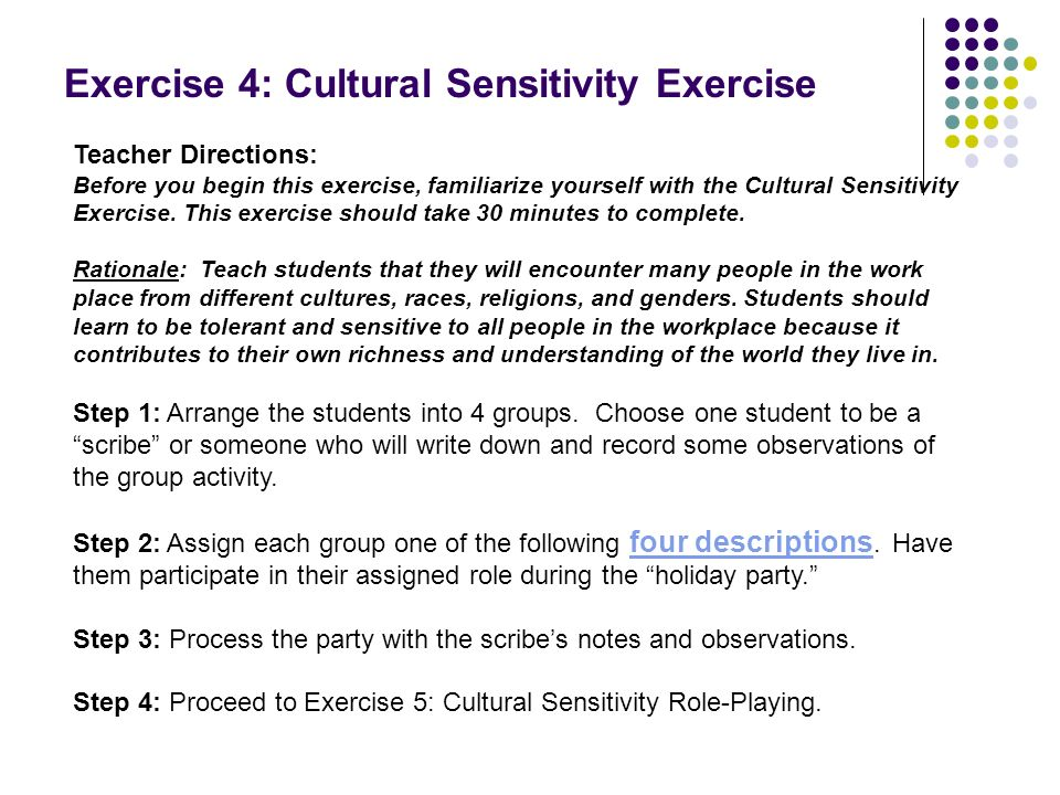Exercise 4: Cultural Sensitivity Exercise