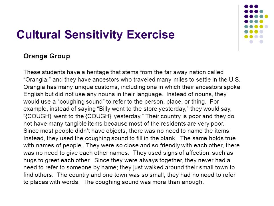 Cultural Sensitivity Exercise