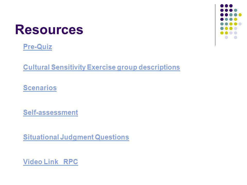 Resources Pre-Quiz Cultural Sensitivity Exercise group descriptions