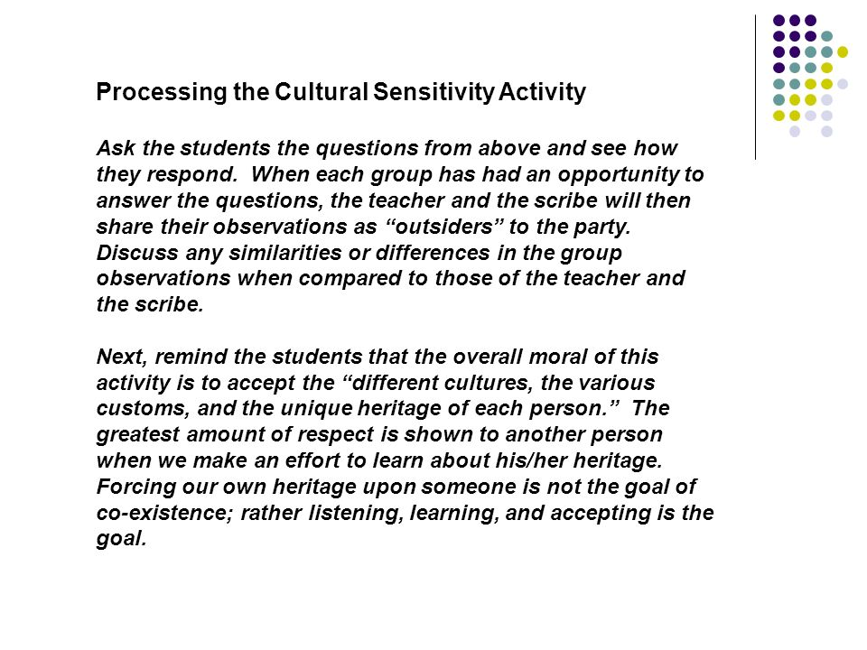 Processing the Cultural Sensitivity Activity