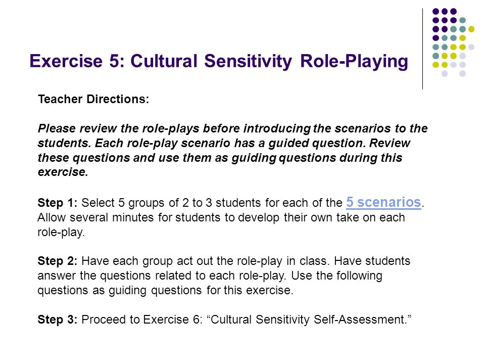 Exercise 5: Cultural Sensitivity Role-Playing