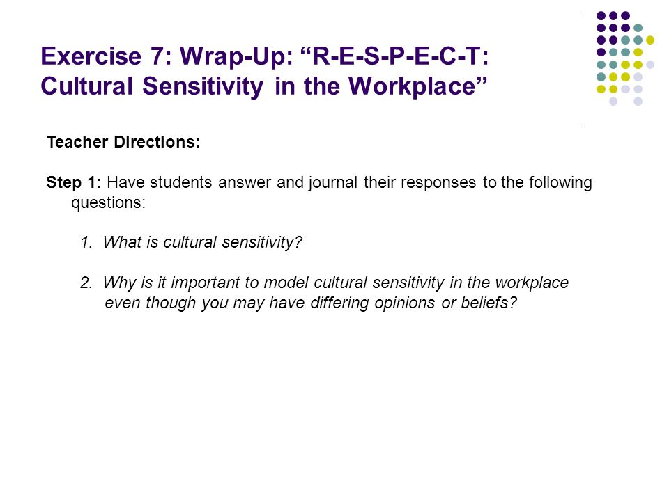 Exercise 7: Wrap-Up: R-E-S-P-E-C-T: Cultural Sensitivity in the Workplace