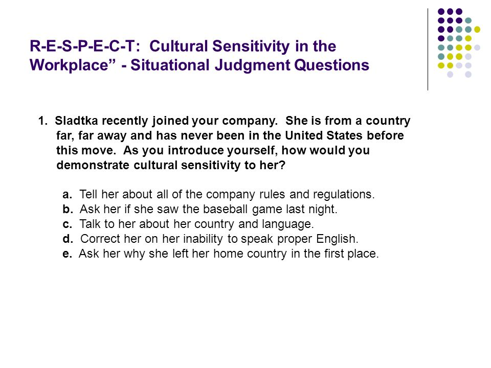 R-E-S-P-E-C-T: Cultural Sensitivity in the Workplace - Situational Judgment Questions
