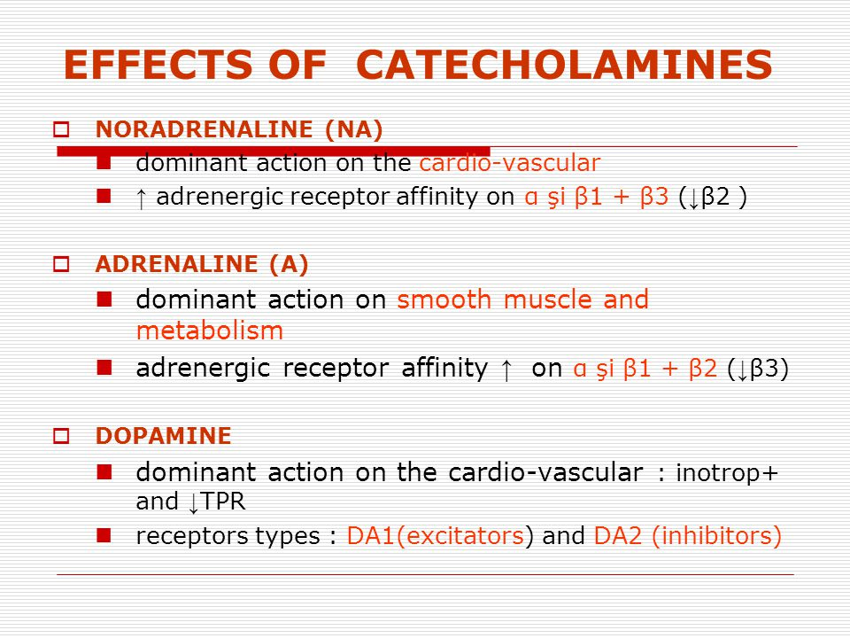 EFFECTS OF CATECHOLAMINES