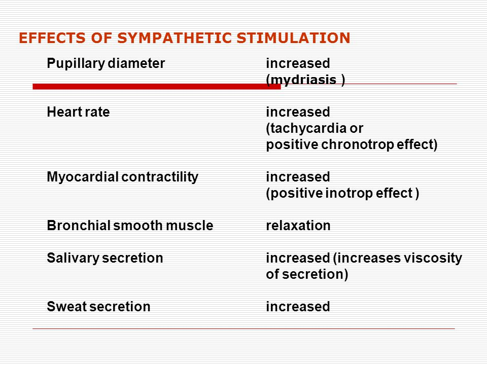 EFFECTS OF SYMPATHETIC STIMULATION