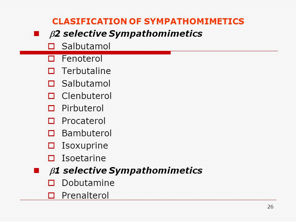 CLASIFICATION OF SYMPATHOMIMETICS