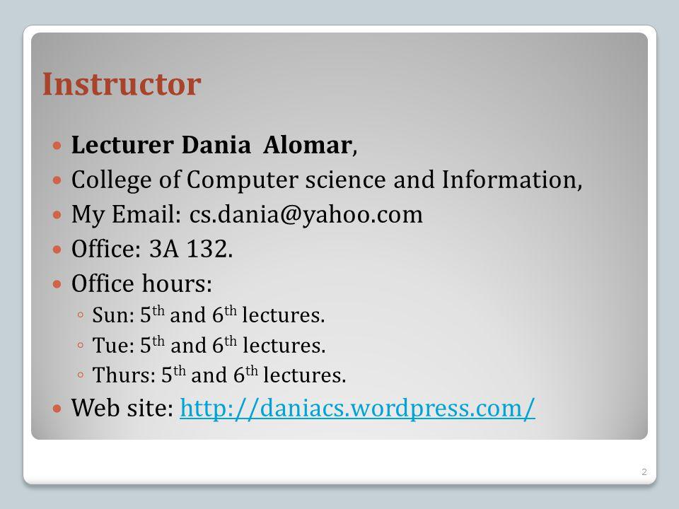 Instructor Lecturer Dania Alomar,