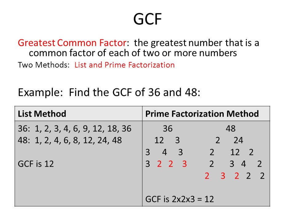 GCF Example: Find the GCF of 36 and 48:
