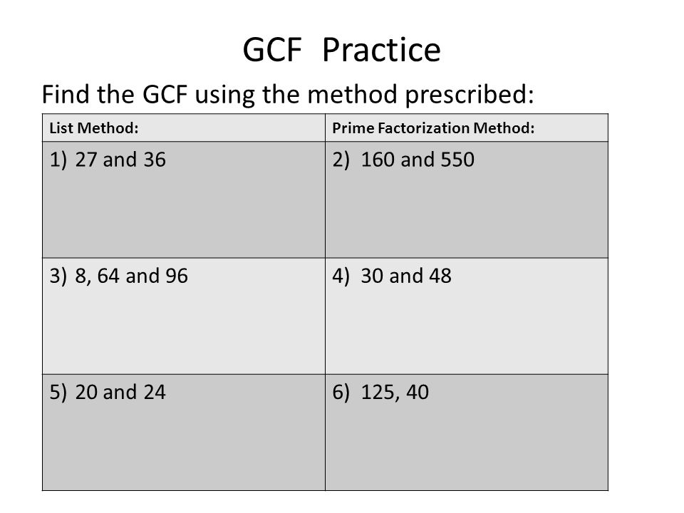 GCF Practice Find the GCF using the method prescribed: 27 and 36