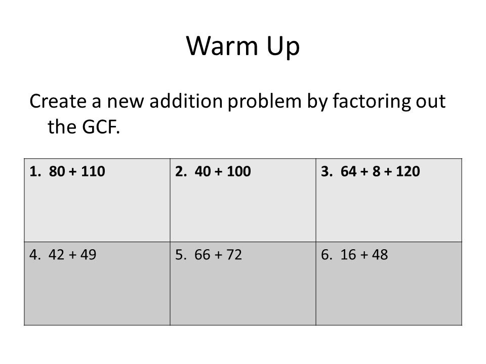 Warm Up Create a new addition problem by factoring out the GCF.
