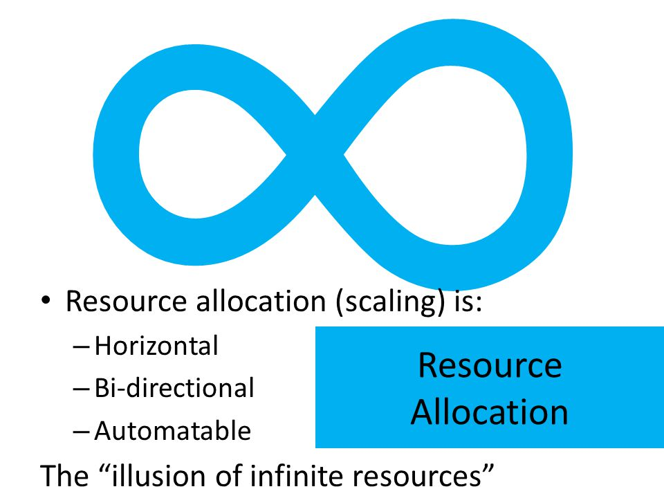 ∞ Resource Allocation Resource allocation (scaling) is: