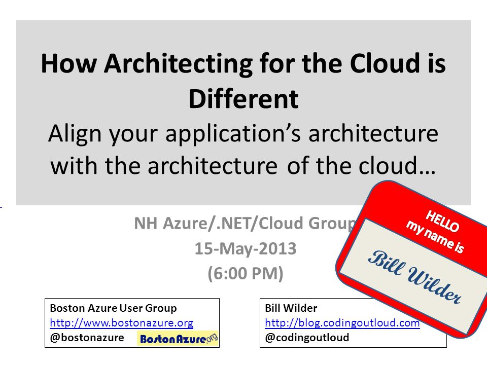 NH Azure/.NET/Cloud Group 15-May-2013 (6:00 PM)