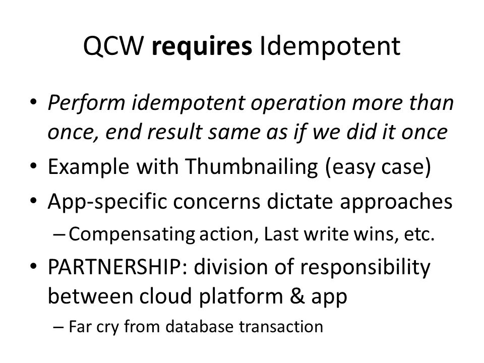 QCW requires Idempotent