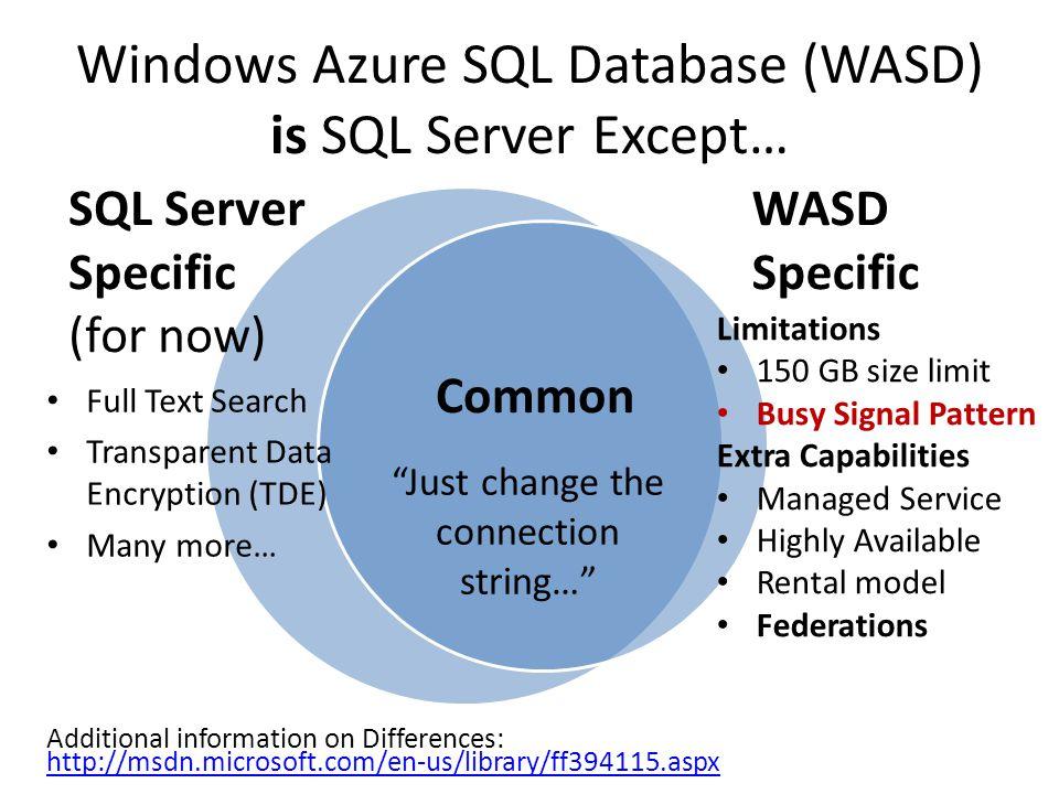 Windows Azure SQL Database (WASD) is SQL Server Except…