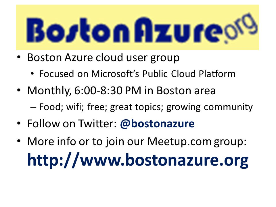 BostonAzure.org Boston Azure cloud user group