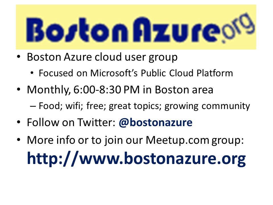 BostonAzure.org Boston Azure cloud user group