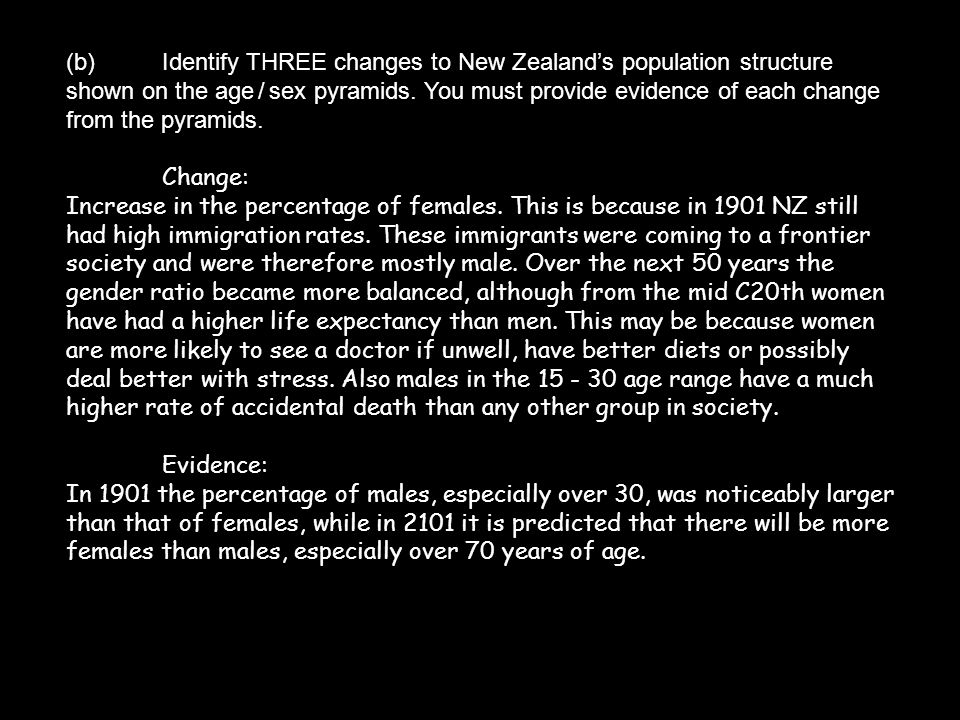 (b) Identify THREE changes to New Zealand's population structure shown on the age / sex pyramids. You must provide evidence of each change from the pyramids.