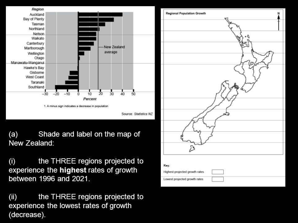 (a) Shade and label on the map of New Zealand: