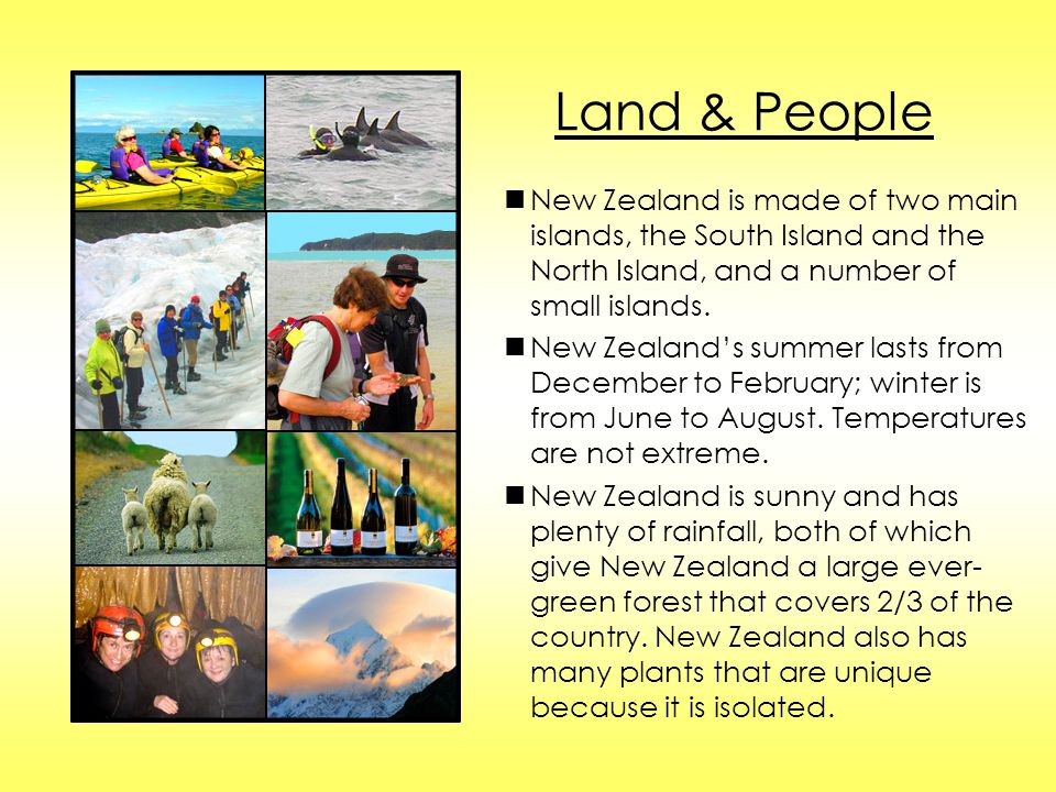 Land & People n New Zealand is made of two main islands, the South Island and the North Island, and a number of small islands.