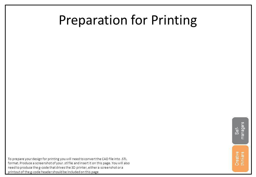 Preparation for Printing