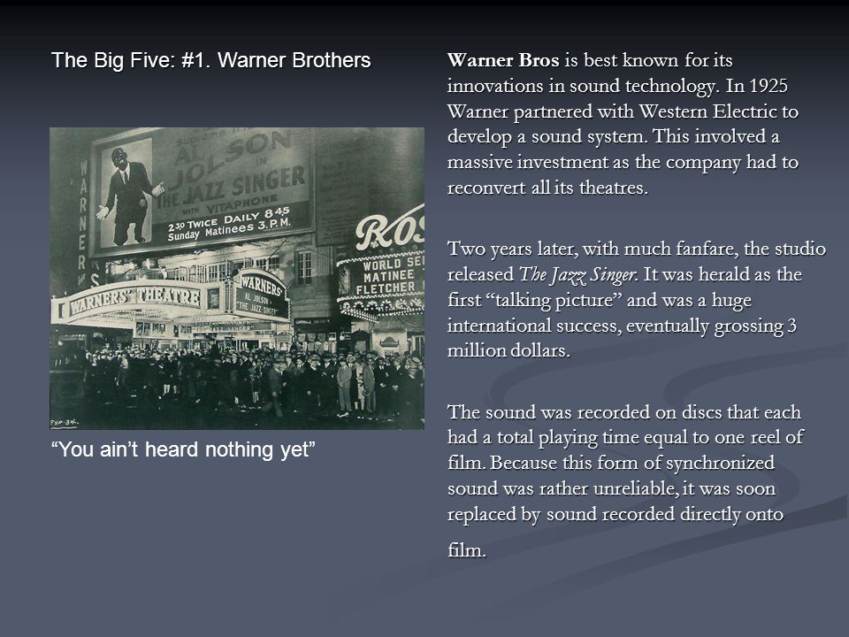 The Big Five: #1. Warner Brothers