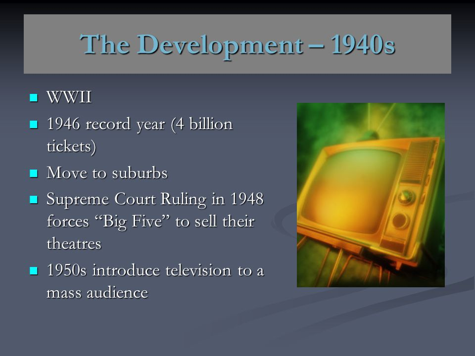 The Development – 1940s WWII 1946 record year (4 billion tickets)
