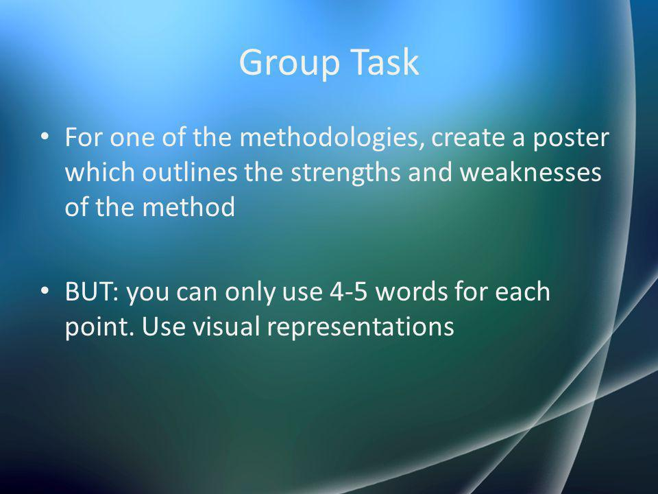 Group Task For one of the methodologies, create a poster which outlines the strengths and weaknesses of the method.