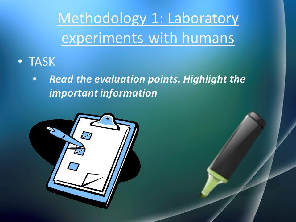 Methodology 1: Laboratory experiments with humans