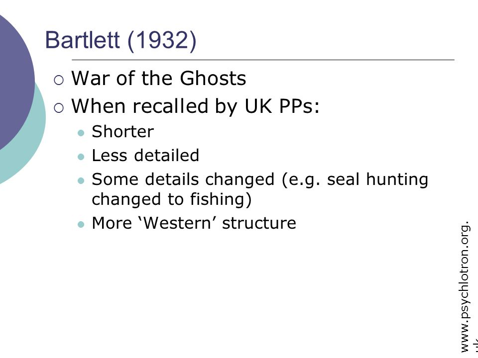 Bartlett (1932) War of the Ghosts When recalled by UK PPs: Shorter