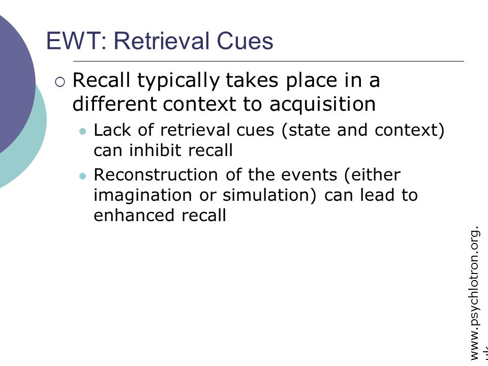 EWT: Retrieval Cues Recall typically takes place in a different context to acquisition.