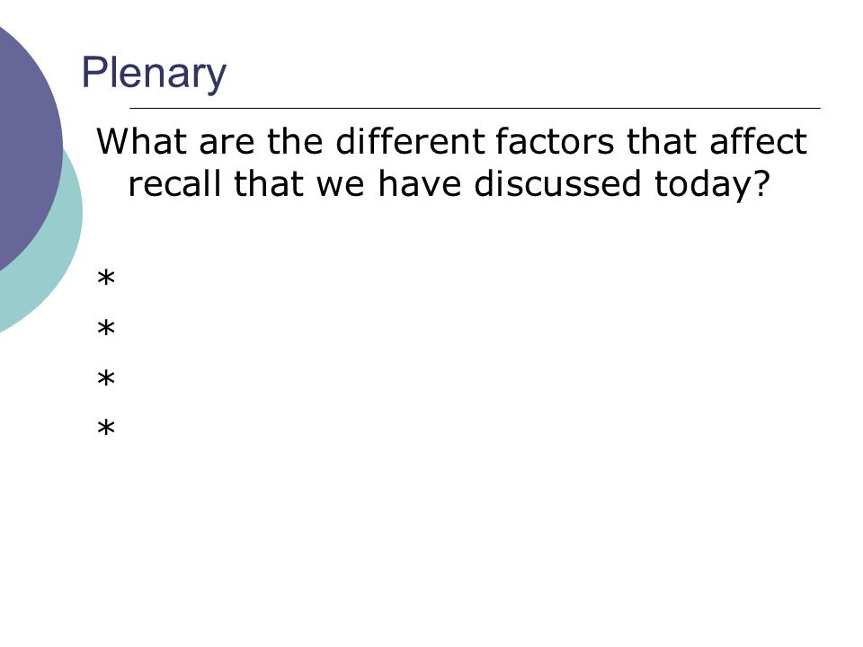 Plenary What are the different factors that affect recall that we have discussed today *