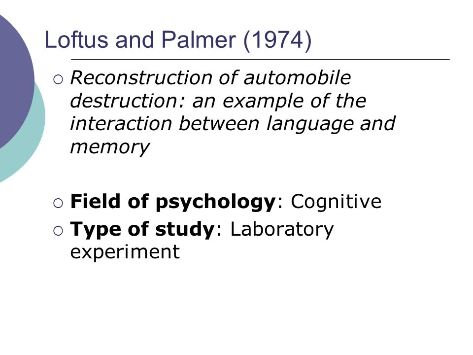 Loftus and Palmer (1974) Reconstruction of automobile destruction: an example of the interaction between language and memory.