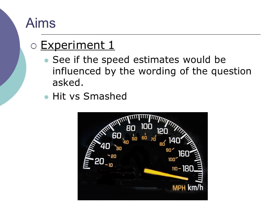 Aims Experiment 1. See if the speed estimates would be influenced by the wording of the question asked.
