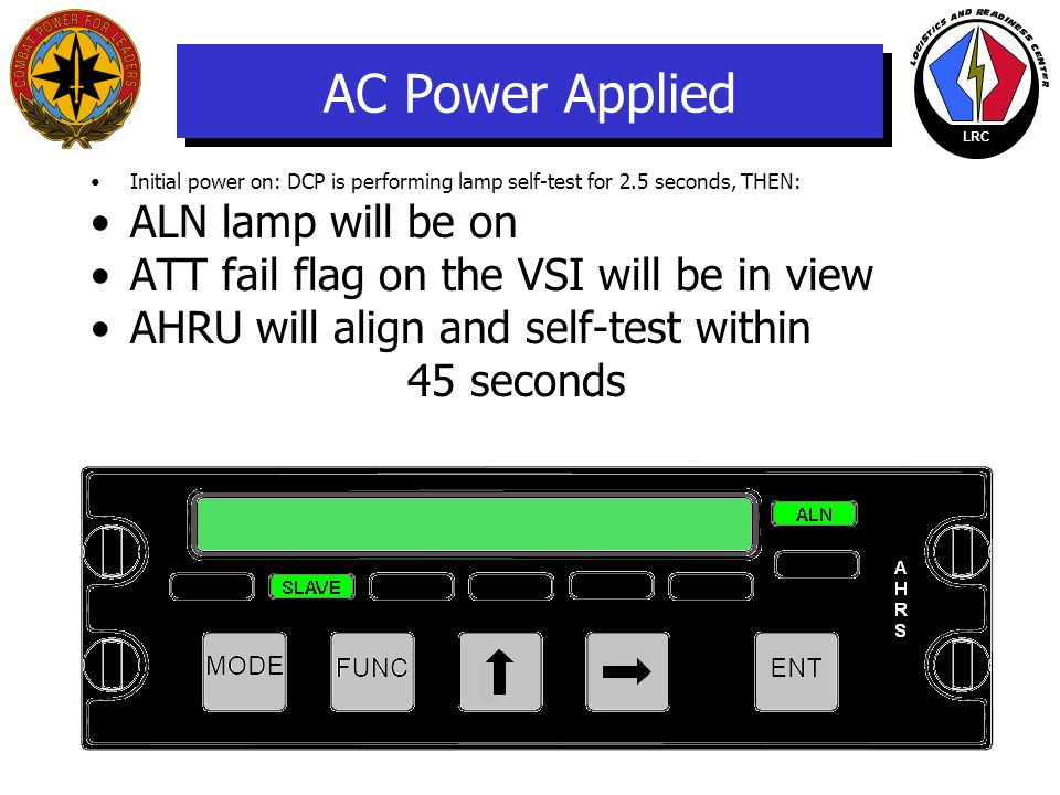 AC Power Applied ALN lamp will be on