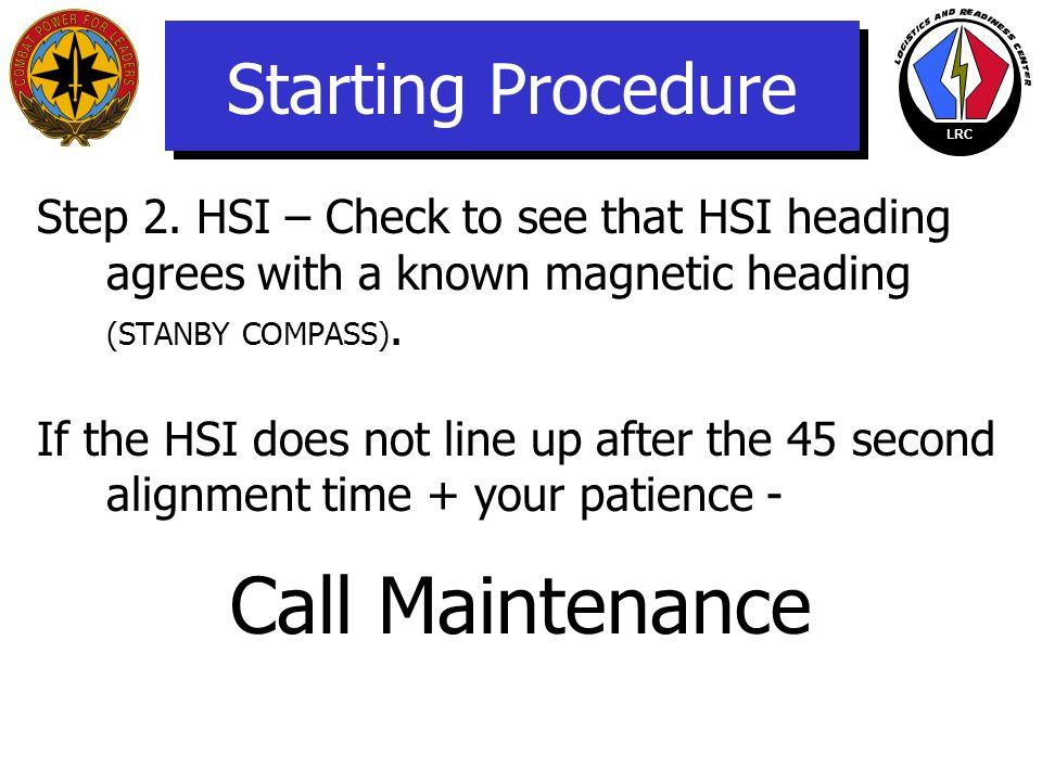 Call Maintenance Starting Procedure