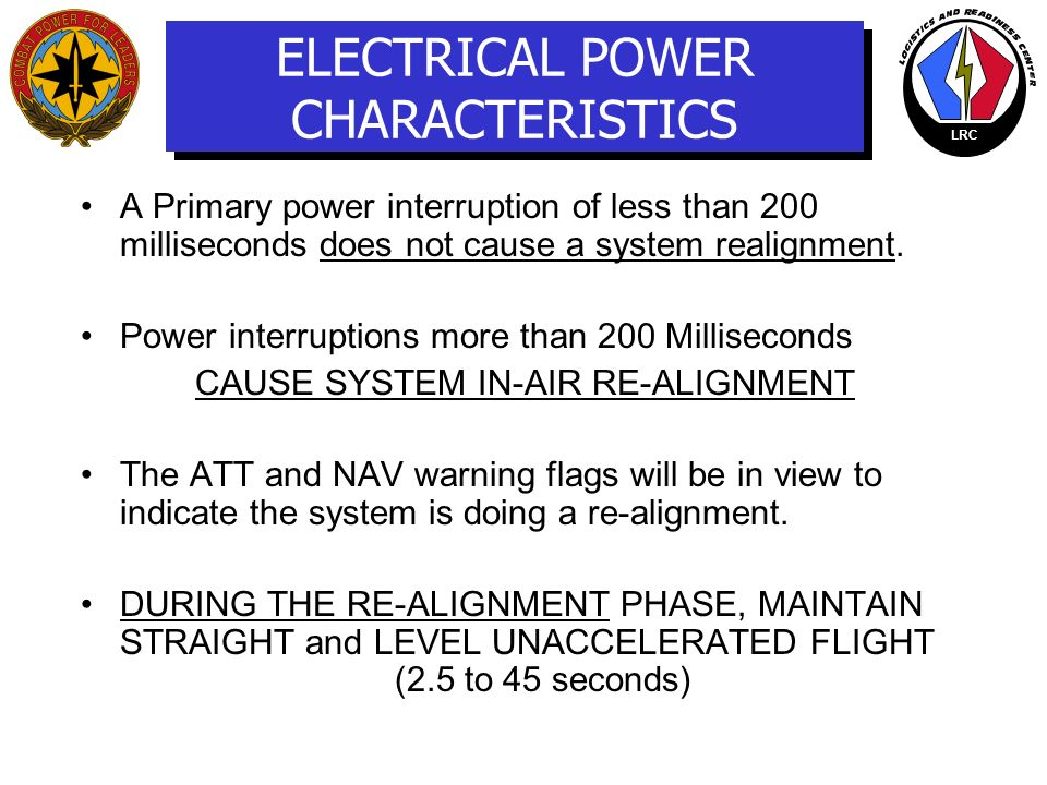 ELECTRICAL POWER CHARACTERISTICS