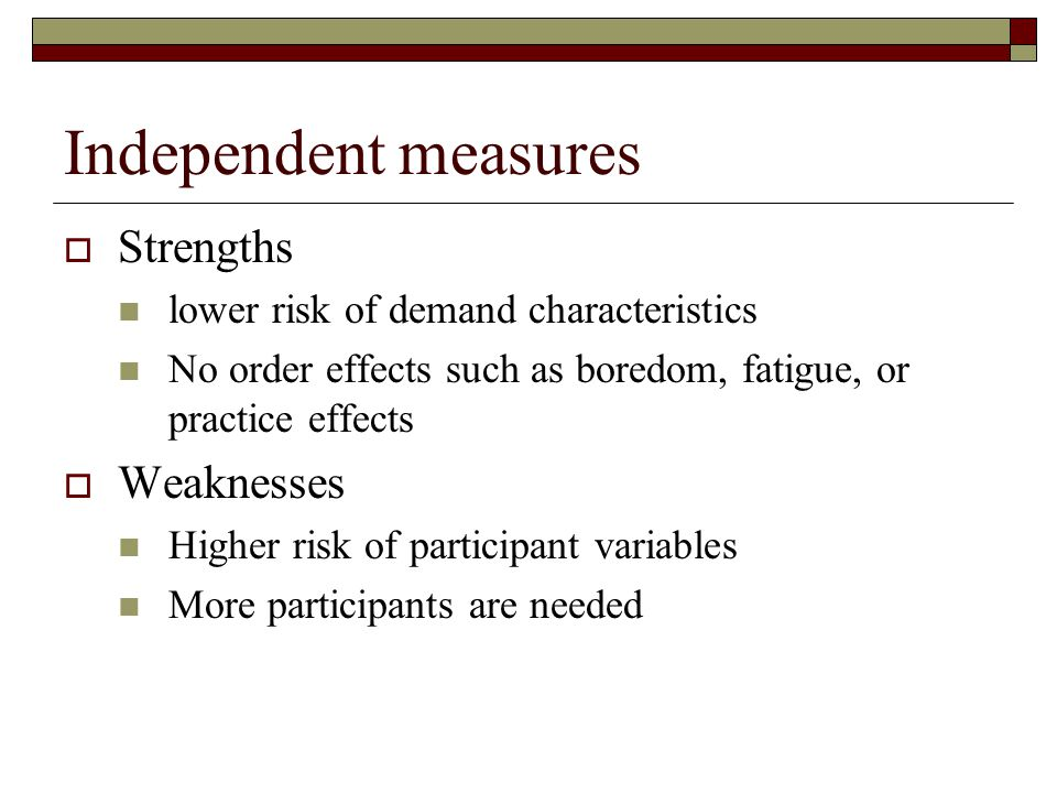 Independent measures Strengths Weaknesses