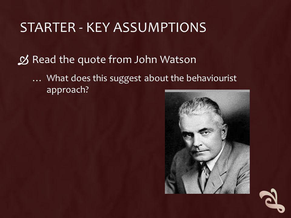 Starter - Key Assumptions