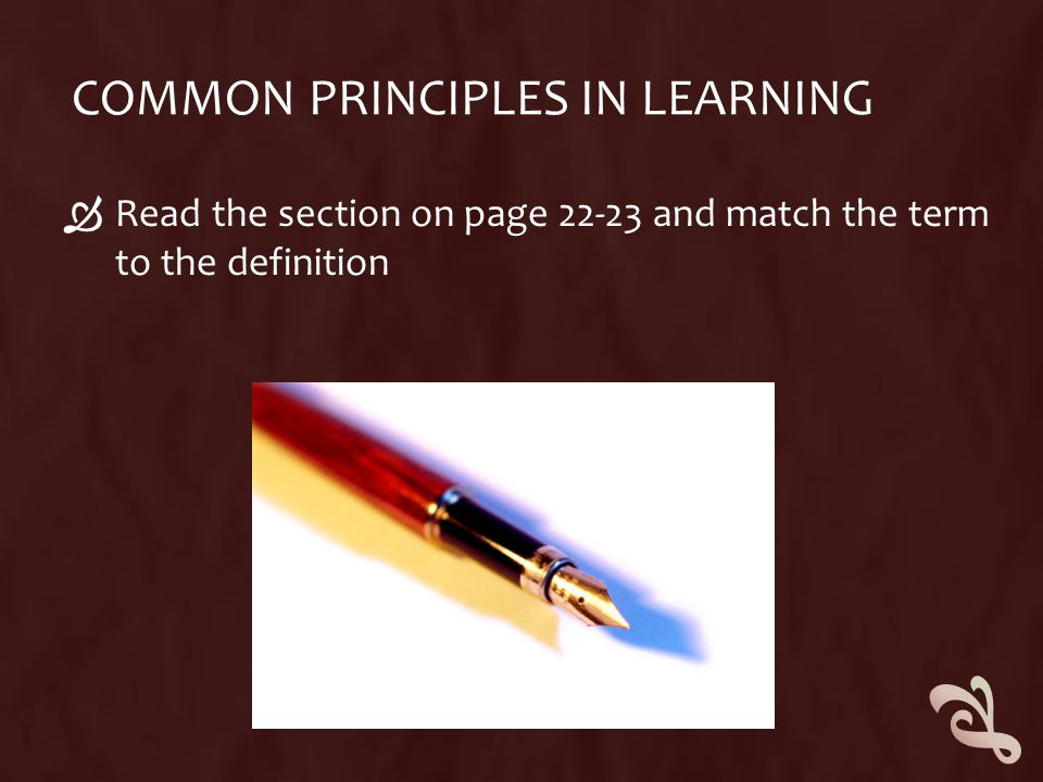 Common principles in learning