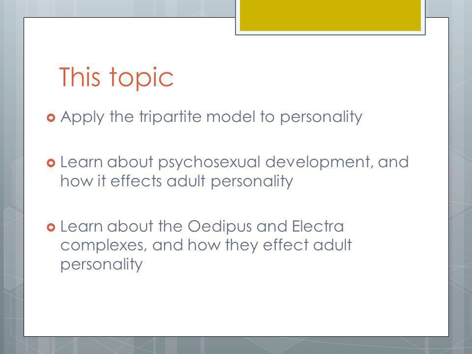 This topic Apply the tripartite model to personality