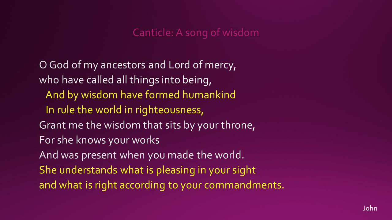Canticle: A song of wisdom