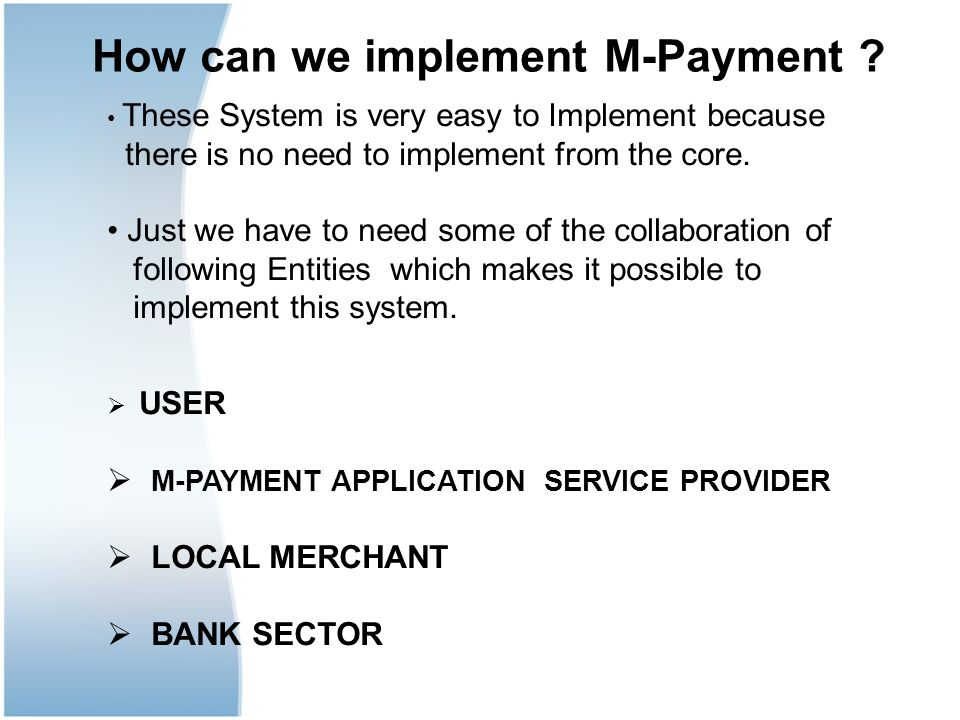 How can we implement M-Payment
