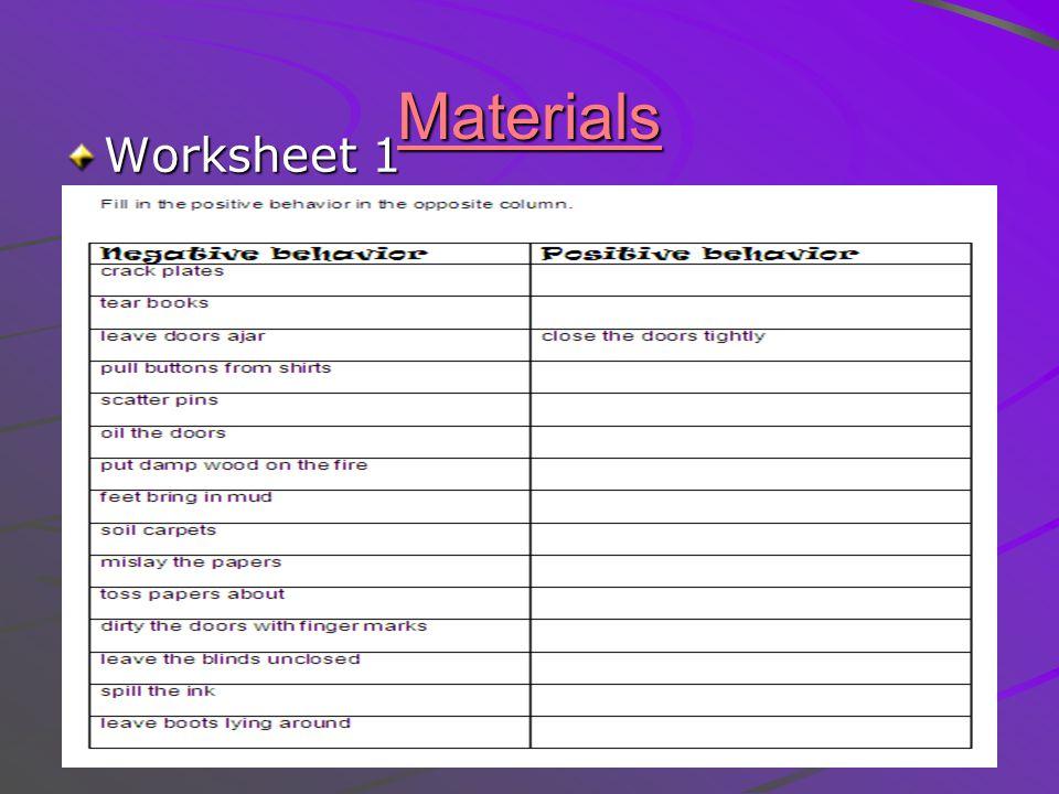 Materials Worksheet 1